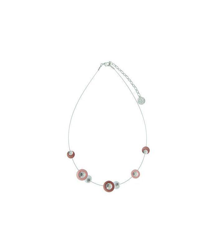 Korte koord halsketting met metalen elementen | Mooie ketting van A-zone | Lengte van de halsketting is 42 cm. | EAN: 8718189398710 | A-zone fashion