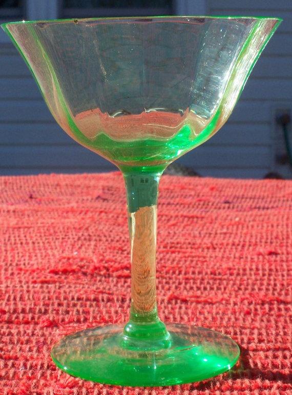 SALE Wine Glass Vaseline Stems Green Depression by krafterskorner, $