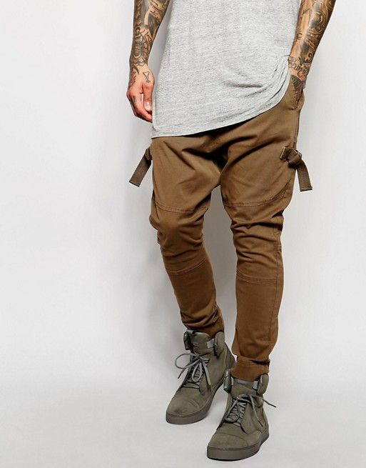 ASOS | ASOS Drop Crotch Joggers With Taping In Brown