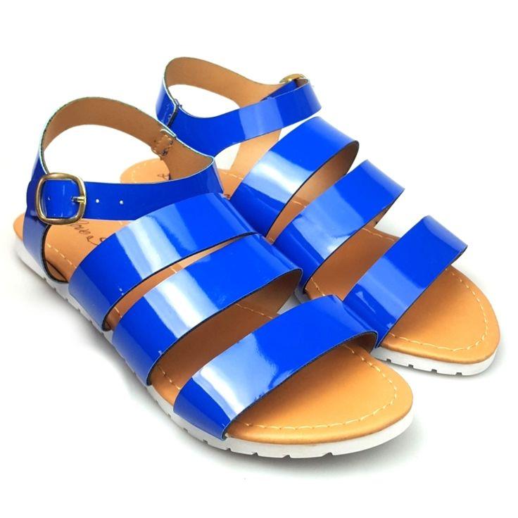 Sandalia Love Shoes Flat Bed Tratorada Melissa Tiras Verniz Azul - Marca Love Shoes