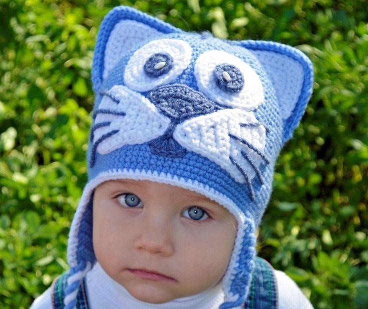Купить или заказать Шапка теплая Котенок в интернет-магазине на Ярмарке Мастеров. Детская вязаная крючком шапочка с ушками смотрится весело и непринужденно, подойдет для мальчика, на прогулке уж точно получите уйму положительных эмоций и улыбок. Такие шапки связанные крючком делаю на заказ по Вашим размерам, по желанию можно менять цвет. Изготовлены они из качественной турецкой полушерсти (50% шерсти, 50% акрила). Теплые, мягкие, приятные на ощупь, носят и детки до года.