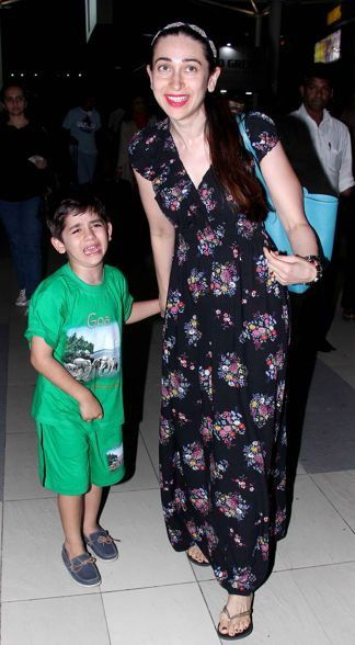 karisma kapoor airport | Captured! Karisma Kapoor's son Kiaan Raj Kapoor gets irritated as ...