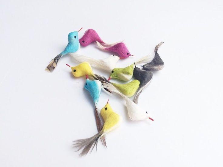 12 Cute Colorful Foam Feather Miniature Artificial Bird Decor Crafts Handmade #Unbranded