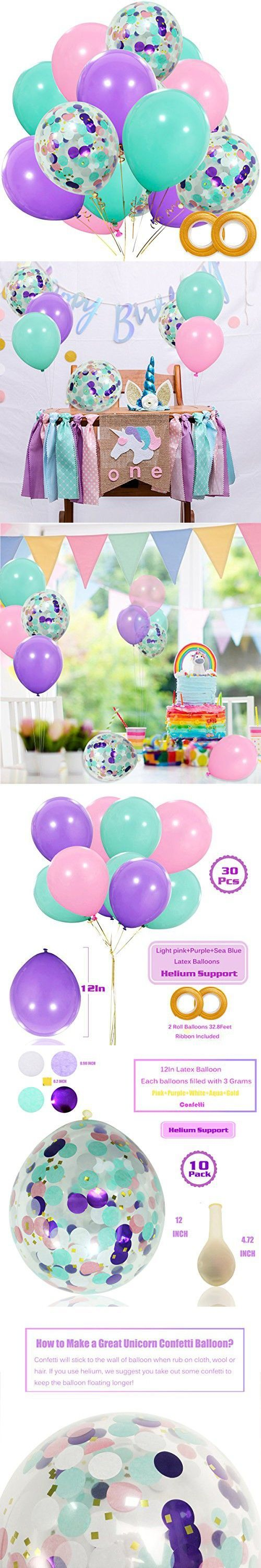 Unicorn Balloons 40 Pack, 12 inch Light Purple Pink Seafoam Blue Latex Balloons with Confetti Balloon for Party Supplies Graduation Wedding Baby Showe...