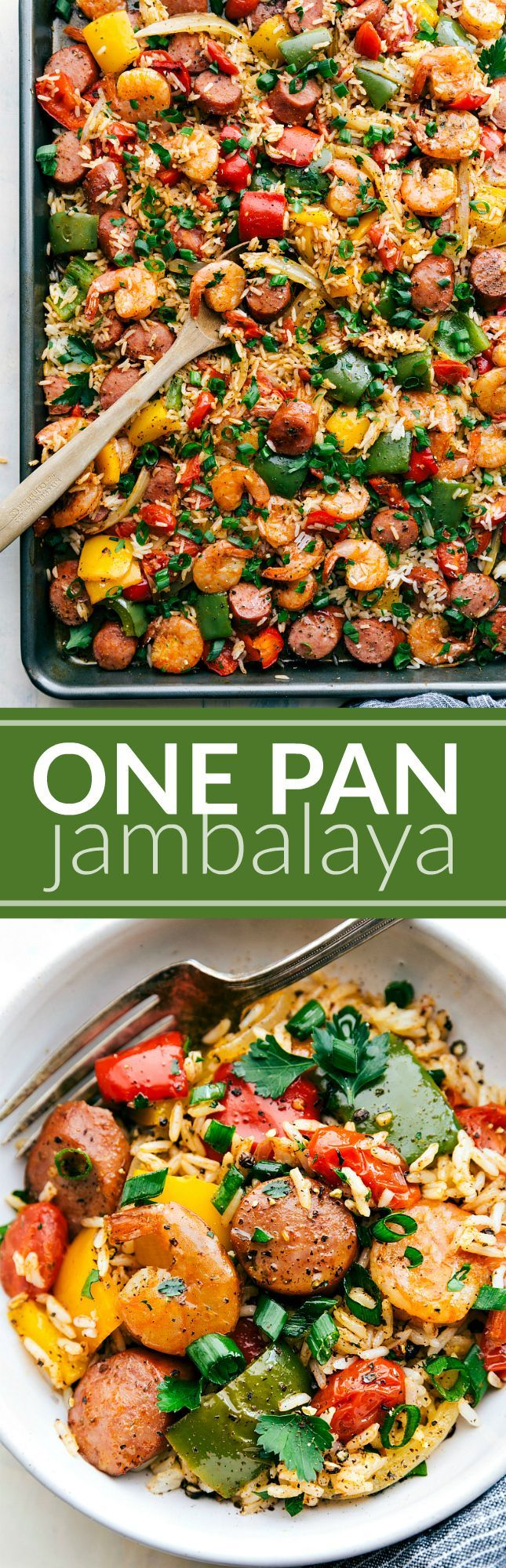 ONE PAN JAMBALAYA! Sausage, shrimp, seasoned veggies, AND rice all cooked together on ONE PAN! Easy 30-minute dinner via chelseasmessyapron.com
