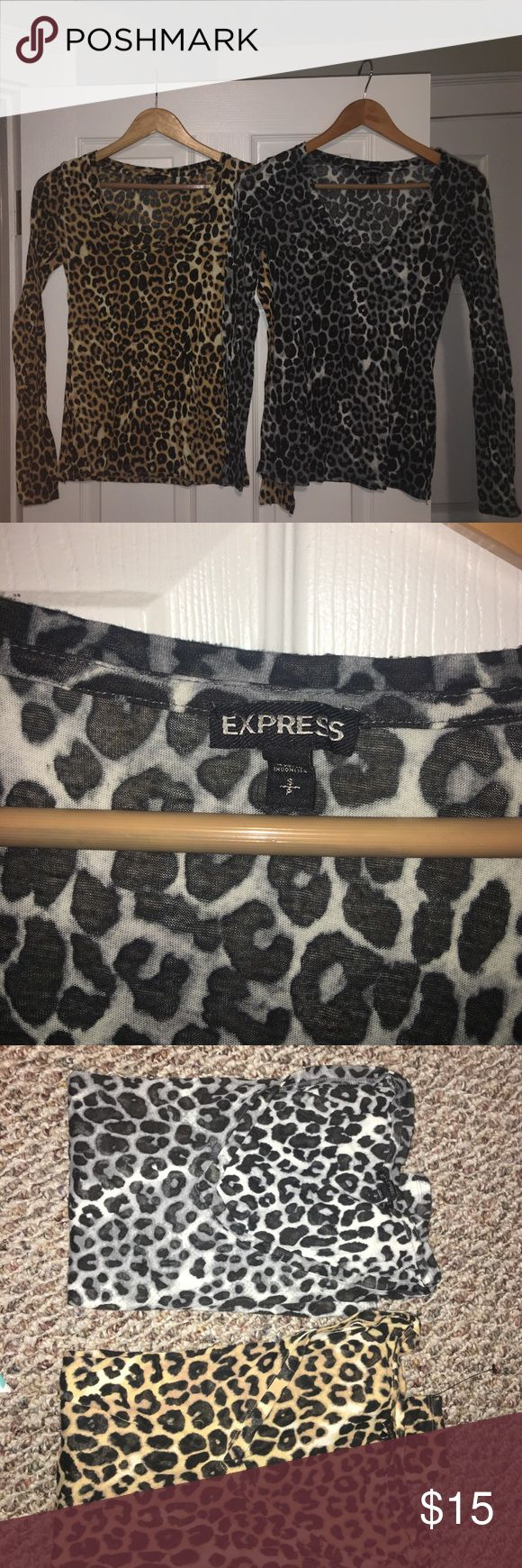 Leopard Print V-Neck Shirts Two V-Neck Leopard Print shirts from Express Express Tops Tees - Long Sleeve