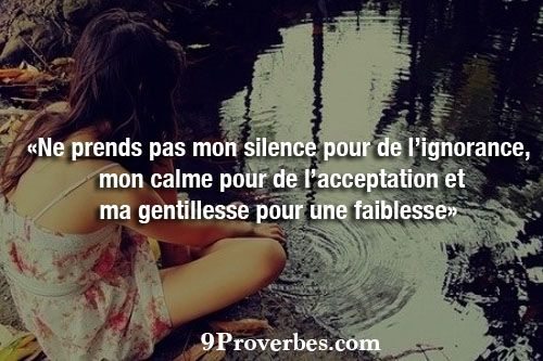 «Ne prends pas mon silence pour de l'ignorance, mon calme pour de l'acceptation, ma gentillesse pour une faiblesse»