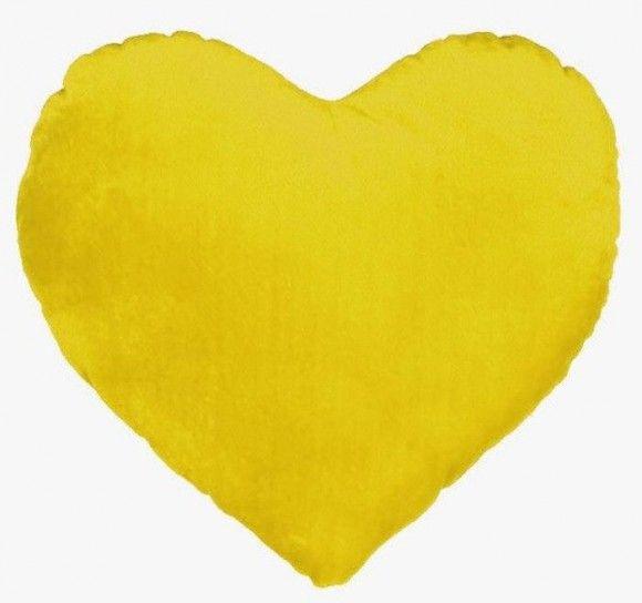 Cuscino cuore giallo - Cuscino a forma di cuore giallo