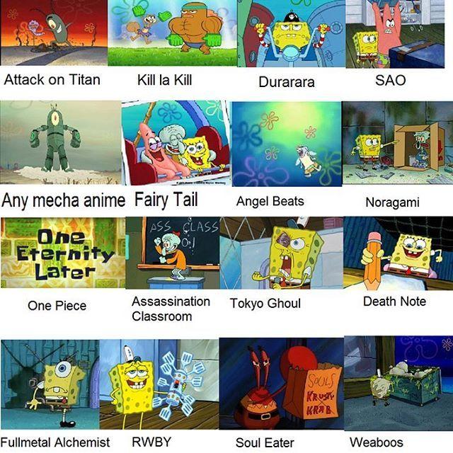 ill never not love spongebob comparison memes -arina - edit: how do u guys not know what RWBY is im