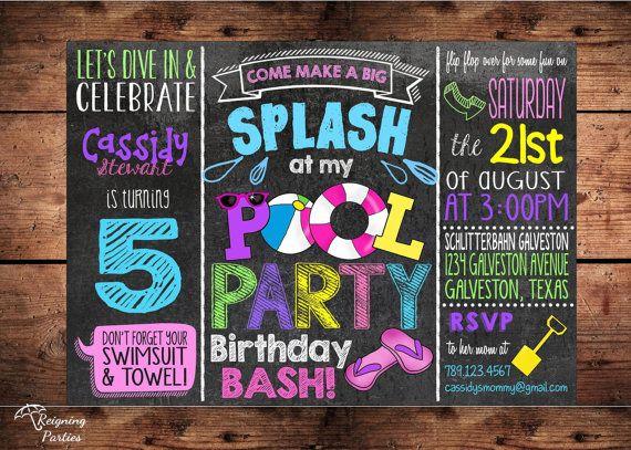 Pool Party Birthday Bash Invitation for Girls - Splish Splash Birthday Bash - Digital File- PURCHASED FROM ETSY FROM SELLER. Super cute!