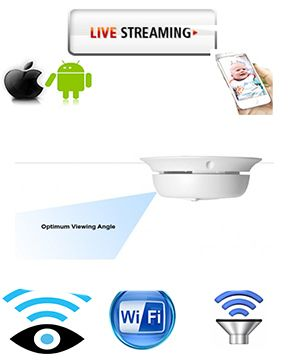 Customwifispycameras.com - Smoke Detector Hidden Spy Cam W/ Wireless Streaming Video for Mac PC iPhone