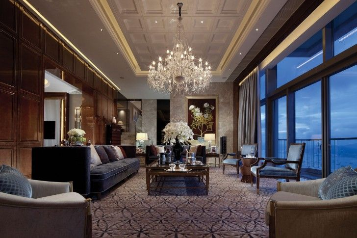 Interior Design, Glass Sliding Door Grey Light Brown Coffee Table Carpet Black Flower Vase Sofa Wooden Cabinet Chandelier Draw Curtain Table Lamps Stairs Glass Railing And Laminate Ceiling ~ Inspiring Elegant Interior and Furniture Architecture for Your House