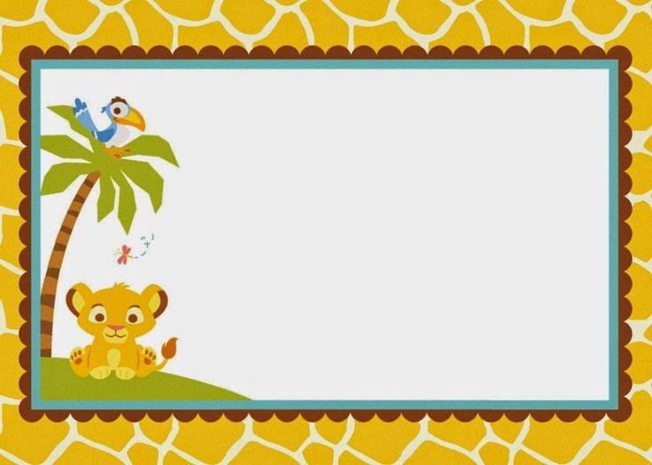 Lion King blank invitation | Lion King Baby Shower ...