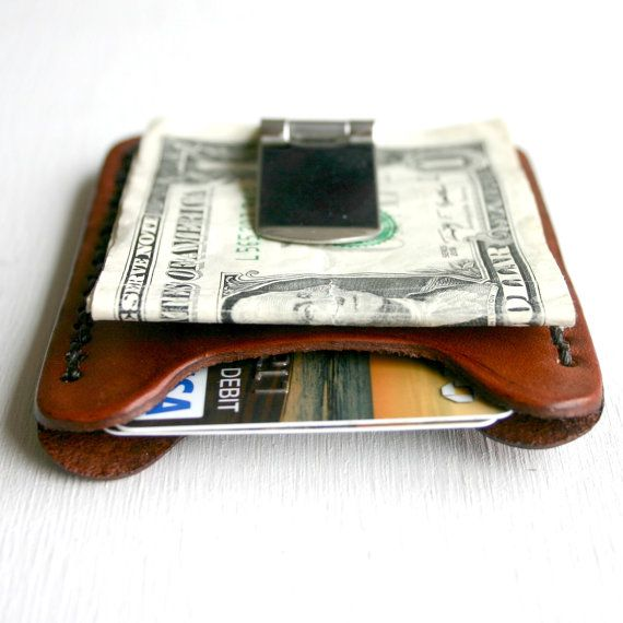 Flip Clip. Men's leather wallet credit card holder with money clip on Etsy, $34.99