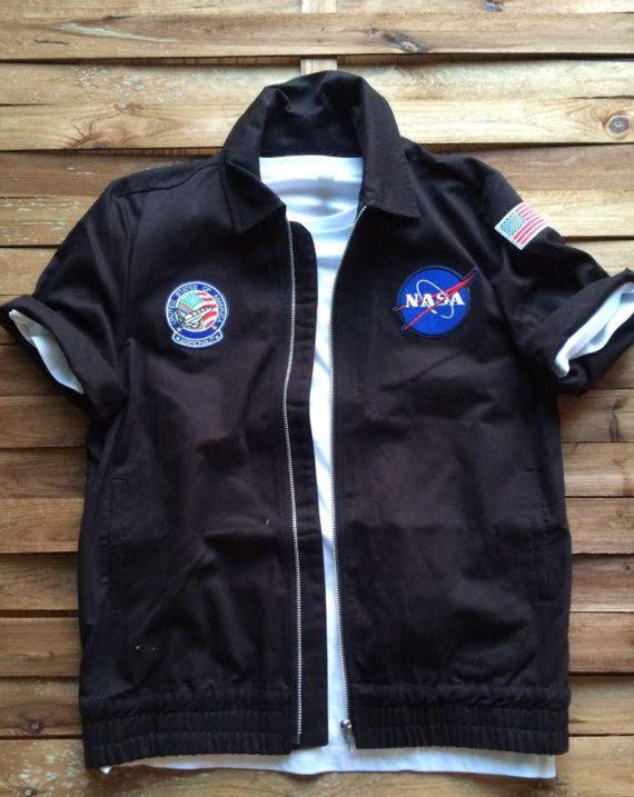 NASA USA Harrington Jacket Short Sleeve Patch Chaqueta Manga Corta Parches