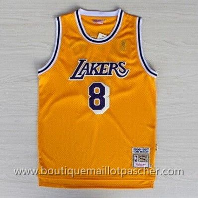 maillot nba pas cher Los Angeles Lakers Bryant #8 Jaune mesh tissu 22,99€