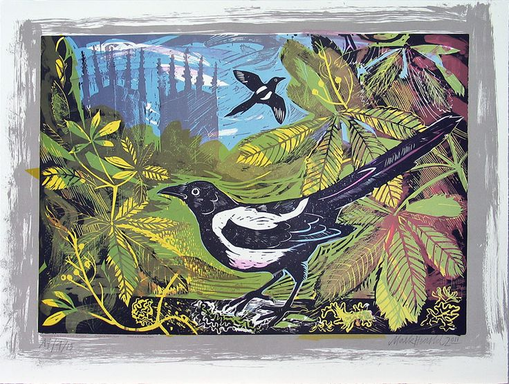 "Gorgeous. Mark Hearld, ""Minster and Magpies."" Lithograph 54 x 71 cm. Edition of 75. £225"