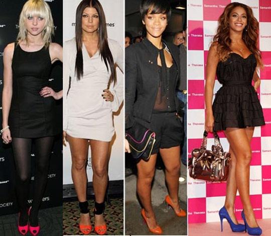 Taylor Momsem, Fergie, Rihanna e Beyoncé: os acessórios coloridos turbinaram o visual e deixaram o look supermorderno. Para não errar, o segredo é balancear sempre vestidos de cores básicas com acessórios em tons fortes (o contraste da produção da Taylor, por exemplo, ficou incrível!)