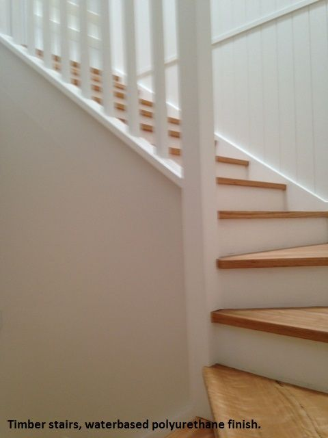 Timber stairs with a waterbased polyurethane finish