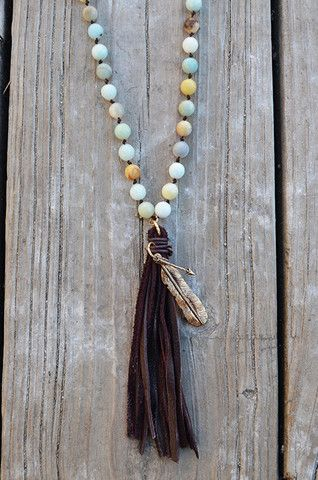 Elements Tassel Necklace...natural stone beads, leather tassel and arrows...what's not to love?! – Groovy's