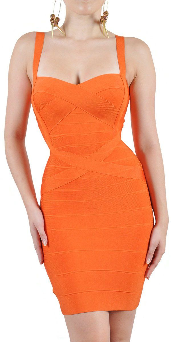 Bandage-Dress-W060-Bright-Orange-Color-Strap-Tight-fitting-Evening-Dress | Outrageous Oranges ...
