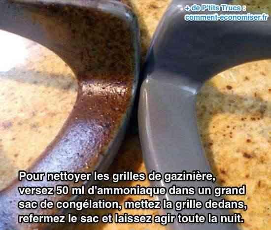 Quand on cuisine, il y a toujours de l'huile et de la graisse qui se collent aux grilles. À chaque fois que l'on cuisine, ces taches sont chauffées. Résultat, ça devient impossible à nettoyer sans frotter pendant des heures.  Découvrez l'astuce ici : http://www.comment-economiser.fr/nettoyer-grilles-gaziniere.html?utm_content=bufferb8d91&utm_medium=social&utm_source=pinterest.com&utm_campaign=buffer