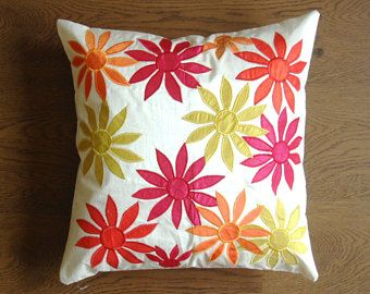 Cushion Cover - Floral Work on Off-White Pillow Cover - 16 inches - Couch Pillow - rd25 - Edit Listing - Etsy