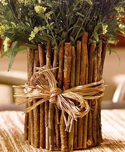 Centros de mesa con ramas secas