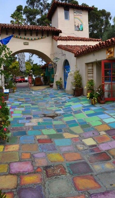 Colorful handmade tiles at Balboa Park in San Diego, California