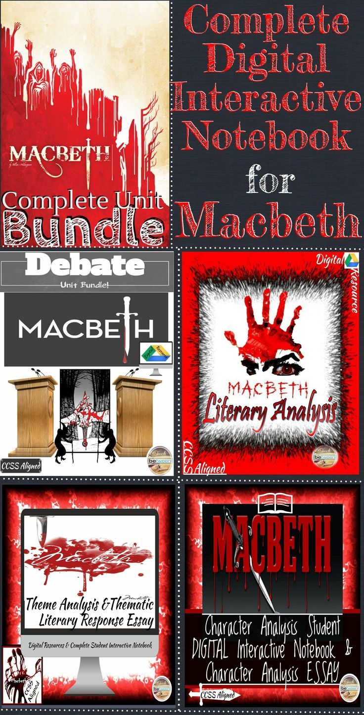 This Complete Macbeth Unit Combines four complete products to create a comprehensive teaching for Shakespeare's Macbeth. Complete digital (and printable) student interactive notebook is over 160 pages in length. There are over 100 teacher slides for intro