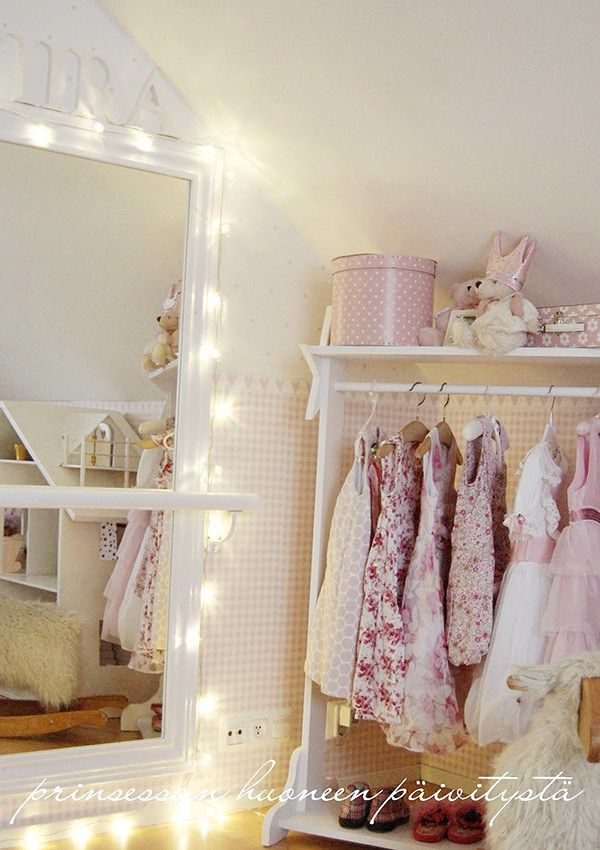 girls bedroom, lots of white is ok! Need a mirror? Tie backs for closet curtains?
