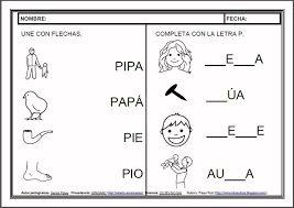 Resultado de imagen para fichas para lectura y escritura preescolar