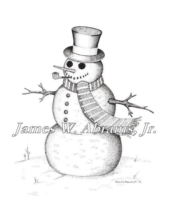 Snowman Pen and Ink Drawing by AbramsInk on Etsy