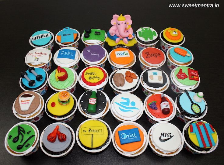 30 Customized designer fondant cupcakes with husband's favourite things for husband's 30th birthday in Pune