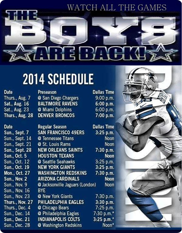 The Boys Are Back 2014-2015 Dallas Cowboys Schedule - Dallas Cowboys 2014 schedule @OfficialCowboys