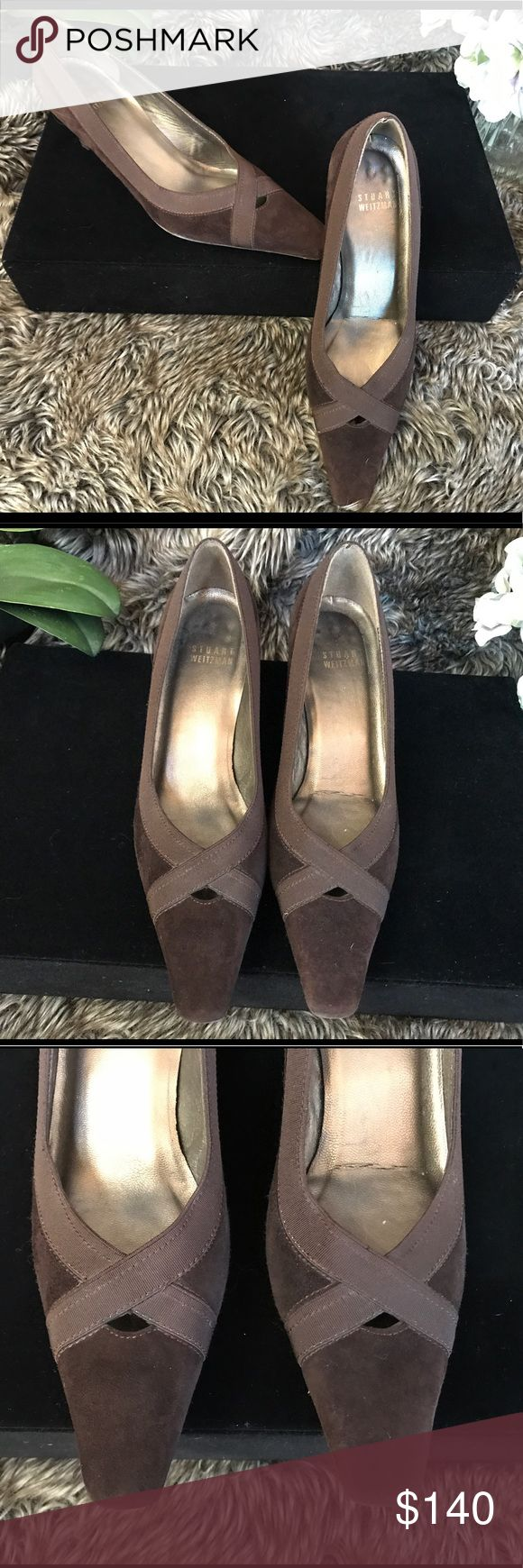 "EUC Stuart Weitzman Chocolate Suede Kitten Heels Anything on the Suede in pics is lint from the stupid furry blanket.  Makes me crazy!  Rubber comfort soles, 2"" heels, grosgrain trim.  Near perfect condition with just slight fading to logo on insole and slight wear on soles. Stuart Weitzman Shoes Heels"