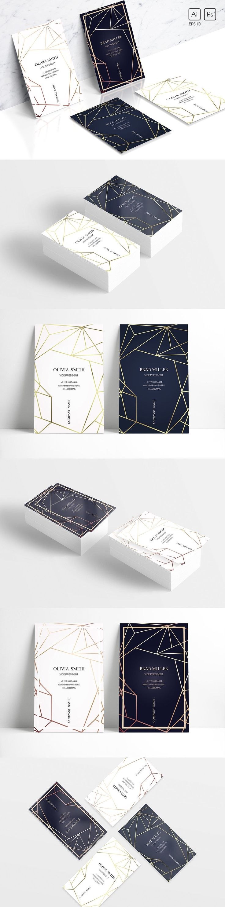 Geometric business card template EPS #businesscards