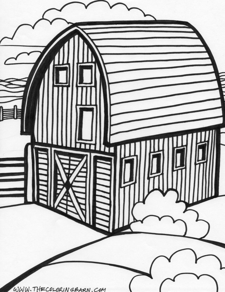 how to draw a cartoon barn