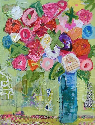 """I love you roses 36""""x48"""" oil, mixed media on canvas, Christy Kinard"""