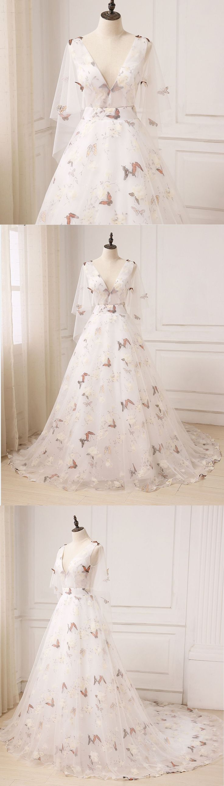 64 Best Rochii Images On Pinterest Evening Gowns Party Wear Jolie Clothing Aftan Dress Unique Ivory Floral Print Tulle Long V Neck Sweet 16 Prom With Sleeves