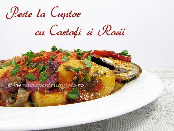 Reteta de peste la cuptor combina in mod desavarsit gustul carnii de peste cu aromele legumelor, verdeturilor si uleiului de masline.