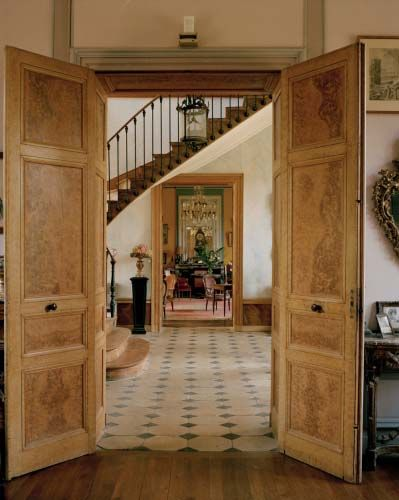 view to the stairs, French country house of Christian Louboutin, photos Francois Halard