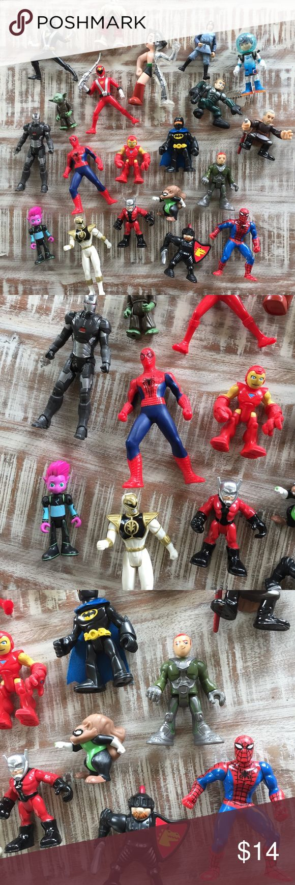 """20 small action figures Bag full of random figures. Ranging around 3"""" mark. Please consider these as played in condition. Included are Disney Star Wars, miles from tomorrow land, power rangers, marvel comic characters, and honestly a handful I don't even know 😝. Disney Other"""