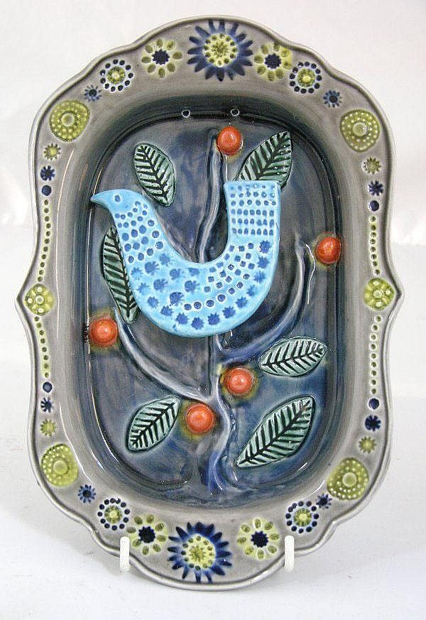Stunning ceramic #bird dish John Ffrench for #Arklow Studio Pottery