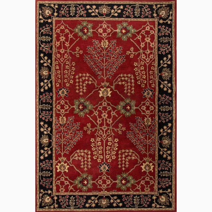 Handmade Arts And Craft Pattern Red Black Wool Rug 8 X 10