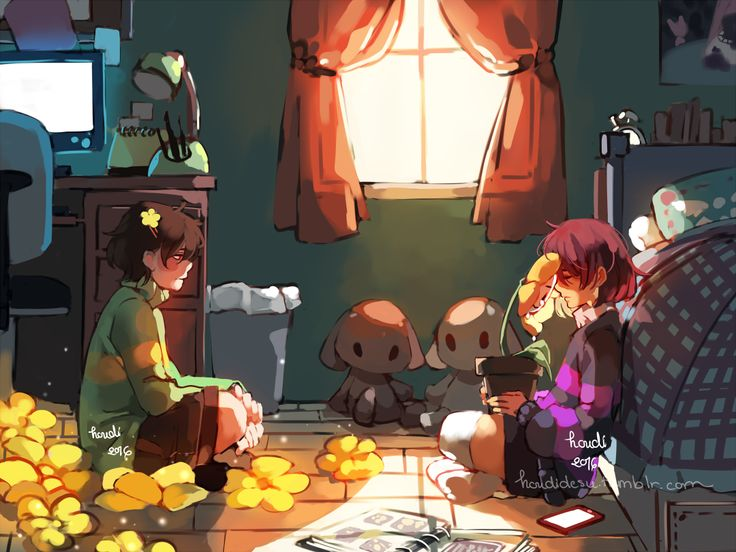 2016 androgynous artist_name bed brown_hair cellphone chair chara_(undertale) closed_eyes collared_shirt curtains desk desk_lamp flower flowey_(undertale) frisk_(undertale) hair_ornament hairclip houdi indian_style interior monitor over-kneehighs phone photo_album plant poster_(object) potted_plant red_eyes shirt shorts sitting smartphone spoilers striped striped_sweater stuffed_toy sweater tagme tears thigh-highs trash_can undertale watermark web_address window window_shade windowsill