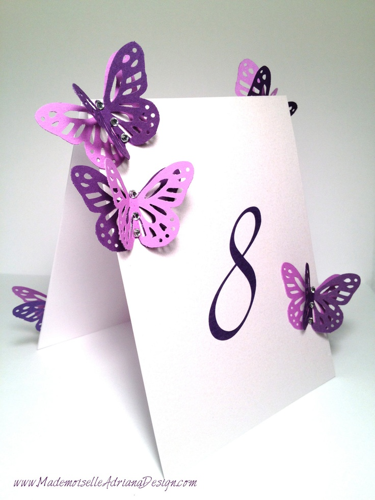 Folded Double Sided Table Numbers Card Table Tag with Butterflies and Crystals. $8.50, via Etsy.