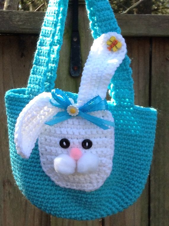 Turquoise Crochet bunny purse by sweetandhandmade on Etsy, $16.00 Cant you just see your little girl carrying this all summer? So CUTE!!!!