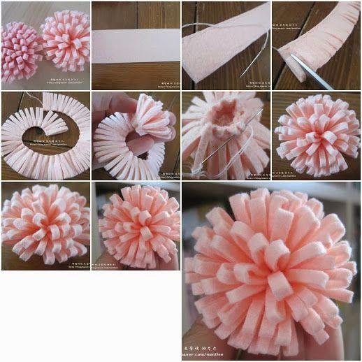 Mini Tutorial:  Como hacer simples flores de fieltro Con este pap mini tutorial podrás realizar sencillas flores de fieltro. Solo necesitas fieltro, hilo y aguja.  Muy fácil!. Anímate y nos cuentas.