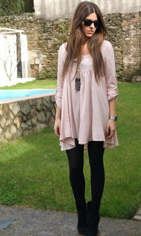 baby doll dress + black tights